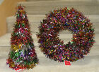 "20"" Foil Wreath &/or Tree Set or Individual Multi-color Christmas Holiday  NWT"