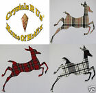 FABRIC TARTAN LR RAINDEER DEER IRON-ON HOTFIX TSHIRT CLOTH CUSTOM TRANSFER PATCH