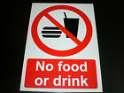 No Food Or Drink Plastic Sign Or Sticker Choice Of Sizes Silk Screen Printed