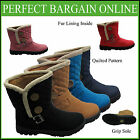 Womens Quilted Fur Lined 2 Two Button Ladies Fashion Snow Fleece Ankle Boots