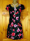 NEW EXCHAINSTORE BLACK RED PINK GREEN VINTAGE STYLE PRINT FLORAL TUNIC TOP