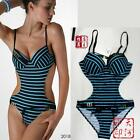 New Top Women Monokini Stripe Sexy Swimwear Bathing Swimsuit set padded boho 2pc