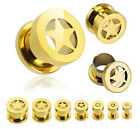 Gold Plated over 316L Surgical Steel Tunnel Screw Fit with Star