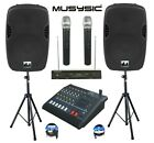 "Complete Professional 2000W PA System 6 Channel Mixer 10"" Speakers Wireless Mics"
