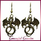 ER2533 Vintage Chinese Style Flying Dragon Dangle Hook Earrings (Bronze/ Silver)