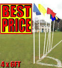 NEW 4 x 6FT CORNER POLE + FLAGS - RED,ROYAL,YELLOW,SKY,WHITE,BLACK,ORANGE,PINK