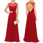 Qpid Showgirl Red chiffon beaded capped long evening dress prom gown