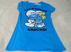 The Smurfs Women's Juniors Sizes (S M L and XL) Blue W Smurfs Hugging On Front~