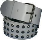 White Real Leather 3 Row Conical Studded Belt 50mm 2in Punk Goth Snap on Buckle