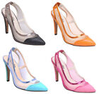 NEW Women's Pointy Cap Toe Transparent Mesh Bright Colored Slingbacks High Heels