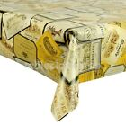 WINE LABELS VINYL WIPE CLEAN TABLECLOTH NEW - Click for list of sizes