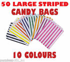 50 LARGE CANDY BAGS Buffet Lolly Bar Wedding Paper Stripe Striped Party Gift