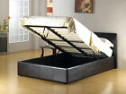 NEW 4FT6 DOUBLE FAUX LEATHER OTTOMAN STORAGE DOUBLE BED / MEMORY FOAM MATTRESS