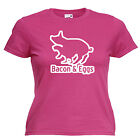Bacon & Eggs Rude Funny Slogan Ladies Lady Fit T Shirt 13 Colours Size 6 - 16