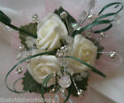 Wedding Babies Rose Wrist Corsage with Diamante & Pearl Bridesmaid Bride Posy