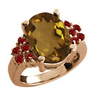 4.70 Ct Oval Whiskey Quartz Red Garnet Rose Gold Plated Sterling Silver Ring