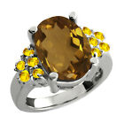 4.80 Ct Oval Whiskey Quartz Yellow Sapphire Sterling Silver Ring