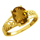 1.60 Ct Oval Champagne Quartz Gold Plated Sterling Silver Ring