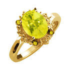 2.32 Ct Oval Canary Mystic Topaz and Diamond Yellow Gold Plated Silver Ring