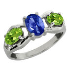 1.95 Ct Oval Sapphire Blue Mystic Topaz and Peridot Sterling Silver Ring