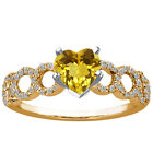 1.39 Ct Heart Shape Yellow Citrine 925 Yellow Gold Plated Silver Ring