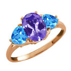 2.32 Ct Oval Blue Tanzanite and Topaz Gold Plated Sterling Silver Ring