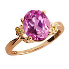 2.94 Ct Light Pink Created Sapphire Citrine Rose Gold Plated 925 Silver Ring