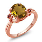 2.32 Ct Whiskey Quartz Rhodolite Garnet Rose Gold Plated Sterling Silver Ring