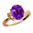 2.51 Ct Oval Amethyst Diamond Rose Gold Plated 925 Silver Ring