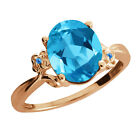 2.86 Ct Oval Swiss Blue Topaz Rose Gold Plated Sterling Silver Ring
