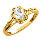 0.56 Ct Oval White Topaz Green Peridot Yellow Gold Plated Sterling Silver Ring