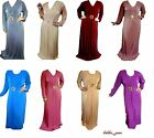 WOMENS ABAYA JILBAB BURKA JUBBAH STRETCHY MAXI DRESS HIJAB SCARF DIAMANTE BROOCH