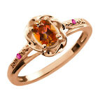0.57 Ct Oval Ecstasy Mystic Topaz Pink Sapphire Gold Plated Sterling Silver Ring