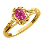 0.56 Ct Oval Pink Mystic Topaz Canary Diamond Gold Plated Sterling Silver Ring