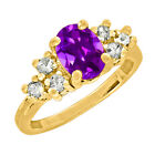 2.25 CT 9x7mm Oval Cut Amethyst Yellow Gold Ring New