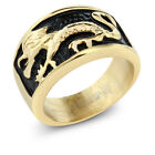 13MM Stainless Steel two Tone Color Gold Plated and Black Dragon Ring For Men
