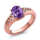 0.75 Ct Oval Purple Amethyst Gold Plated Sterling Silver Ring