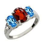 2.50 Ct Checkerboard Garnet and London Topaz 925 Silver Ring