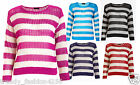 WOMENS LADIES CABLE KNIT WIDE STRIPE CROCHET KNITTED JUMPER TOP CARDIGAN UK 8-14