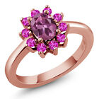1.35 Ct Oval Pink Tourmaline Pink Sapphire Rose Gold Plated Sterling Silver Ring