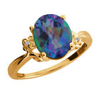 2.51 Ct Oval Millenium Blue Mystic Quartz and Diamond Gold Plated Silver Ring