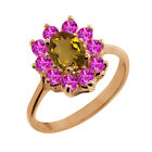 1.20 Ct Oval Whiskey Quartz Pink Sapphire Rose Gold Plated Sterling Silver Ring