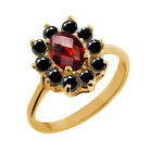1.13 Ct Checkerboard Red Garnet Black Diamond Gold Plated Sterling Silver Ring