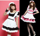 Sexy Japan Blk Cosplay party Fancy Dress Uniform Ruffle Lolita Maid Outfit 6-12