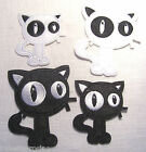 ÉCUSSON PATCH BRODE thermocollant CHAT NOIR ou BLANC 3 tailles PETIT MOYEN GRAND