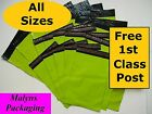 NEON GREEN MAILING BAGS Plastic Mail Postal Post Sacks FREE 1st CLASS POSTAGE