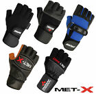 Met-X Leather Wrist Supports Gym Gloves Gel Padded Gloves Weight Lifting Gloves