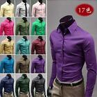 Hot Formal Men Luxury Slim Fit Stylish Solid Color Dress Shirts Top XS/S/M/L