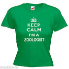 Keep Calm Zoologist Ladies Lady Fit T Shirt Size 6 -16