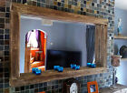 large Rustic Reclaimed wooden Farmhouse Mirror with Tea light shelf